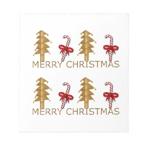 Merry Christmas Tree Candy red gold Memo Pad