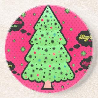 Merry Christmas Tree Beverage Coaster