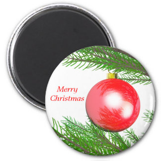 Merry Christmas Tree Decoration 6 Cm Round Magnet