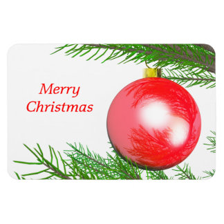Merry Christmas Tree Decoration Rectangular Photo Magnet