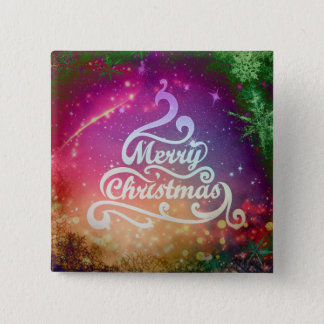 Merry Christmas Tree Design Square Button