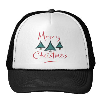 Merry Christmas Tree Doodle Trucker Hats