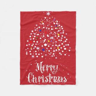 Merry Christmas Tree Fleece Blanket Red