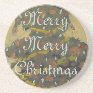 Merry Christmas Tree FolkArt Designer Holiday Drink Coaster
