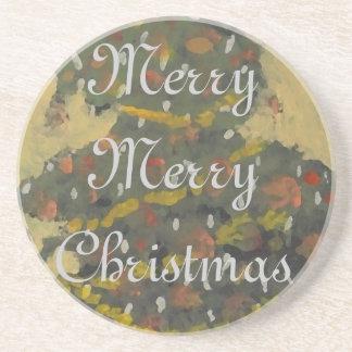 Merry Christmas Tree FolkArt Designer Holiday Drink Coasters