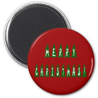 Merry Christmas Tree Font Refrigerator Magnets