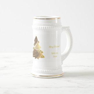 Merry Christmas Tree Gold Look Elegant Beer Stein