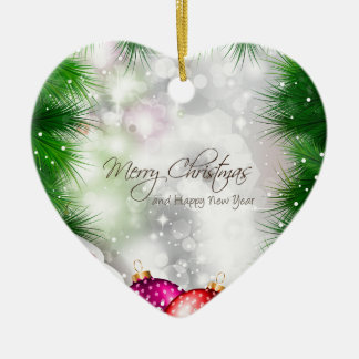 Merry Christmas Tree Greating Card Ceramic Heart Decoration