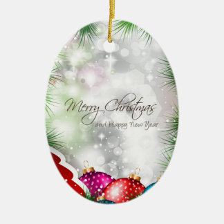 Merry Christmas Tree Greating Card Ceramic Oval Decoration