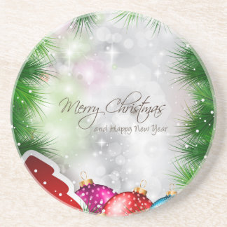 Merry Christmas Tree Greating Card Coasters