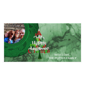Merry Christmas Tree Green Holiday Photo Photo Cards