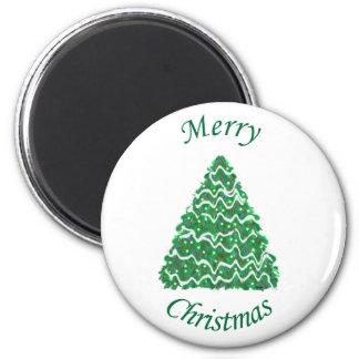 Merry Christmas Tree Green 6 Cm Round Magnet