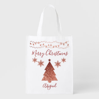 Merry Christmas Tree Holiday Delight Reusable Grocery Bag