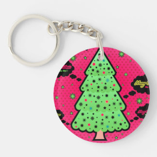 Merry Christmas Tree Single-Sided Round Acrylic Key Ring