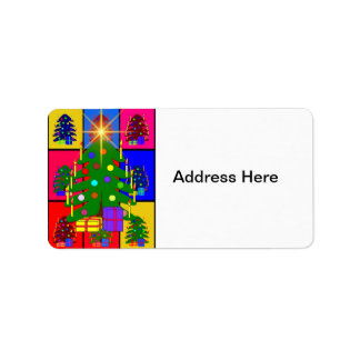 Merry Christmas Tree Address Label