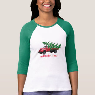 merry christmas tree on truck shirt women fashion