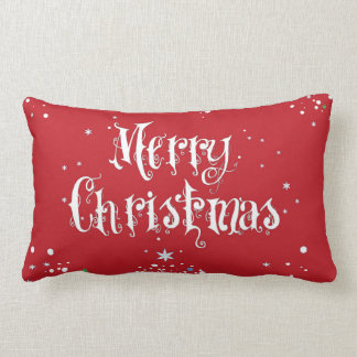Merry Christmas Tree Pillow Red