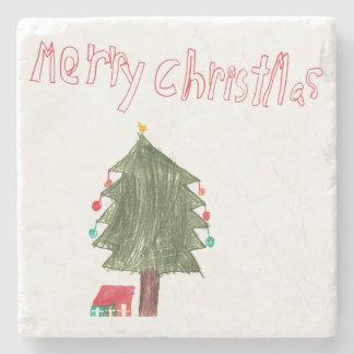 Merry Christmas Tree & Presents Stone Beverage Coaster