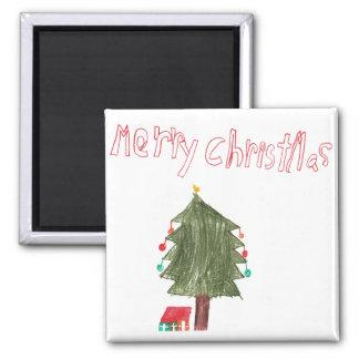 Merry Christmas Tree & Presents Fridge Magnet