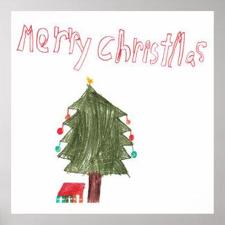 Merry Christmas Tree & Presents Print