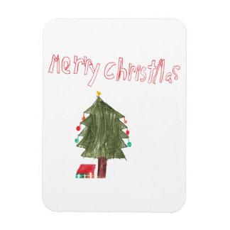 Merry Christmas Tree & Presents Rectangular Magnet