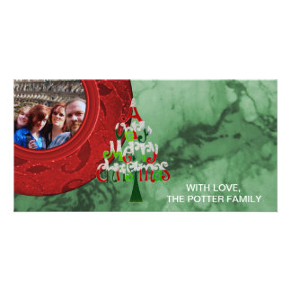 Merry Christmas Tree Red Green Holiday Photo Card