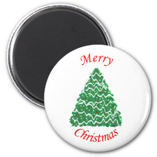 Merry Christmas Tree Red Fridge Magnets