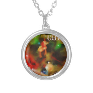 Merry Christmas Tree Round Pendant Necklace