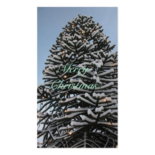 Merry Christmas Tree Silver Gift Tags Cards Business Card Template