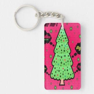 Merry Christmas Tree Single-Sided Rectangular Acrylic Key Ring
