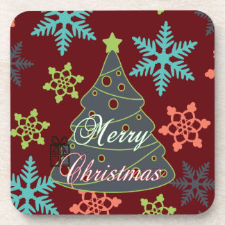 Merry Christmas Tree Snowflakes Holiday Gifts Drink Coasters
