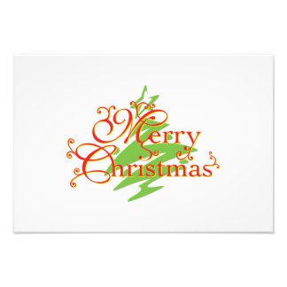 Merry Christmas Tree Star Greeting Playing Cards Photographic Print
