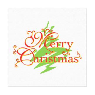 Merry Christmas Tree Star Invitation Postage Label Canvas Prints