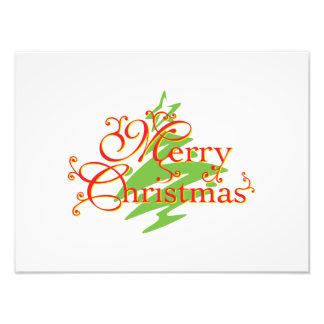 Merry Christmas Tree Star Invitation Postage Label Photographic Print
