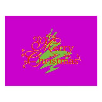 Merry Christmas Tree Star Invitation Postage Label Postcard