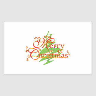 Merry Christmas Tree Star Invitation Postage Label Rectangular Sticker