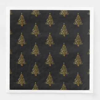 Merry Christmas Tree Stars Black Gold Shiny Chic Disposable Serviettes