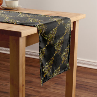 Merry Christmas Tree Stars Black Gold Shiny Chic Long Table Runner