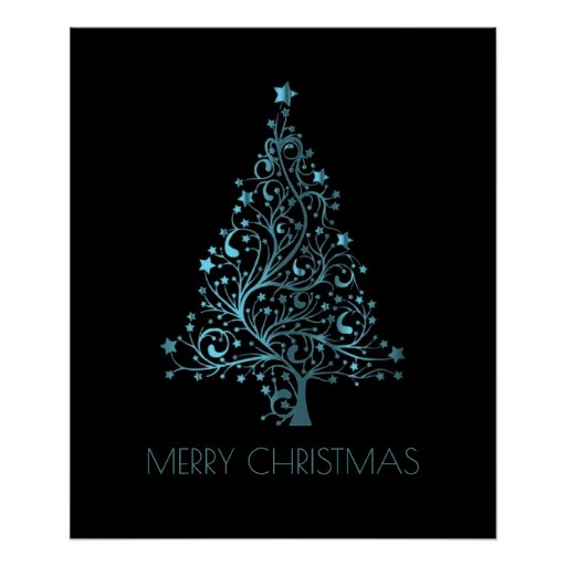 Merry Christmas Tree Stars Blue Metallic Look Poster