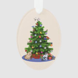 Merry Christmas Tree with Birds, Cat, Dog