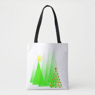 Merry Christmas tree with lights vector tote bag