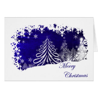 Merry Christmas Trees and Snow Flakes Card