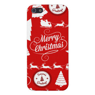Merry Christmas Trees Santa Reindeer Holiday Cover For iPhone 5