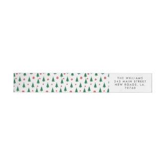 Merry Christmas Trees Wrap Around Label