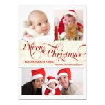 Merry Christmas Tri-Photo Flat Card - Red & White Personalized Invitation