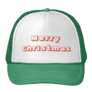 Merry Christmas Trucker Hat red green