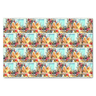 Merry Christmas trumpeting angels pattern Tissue Paper