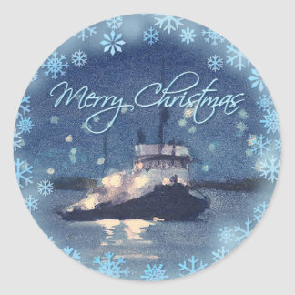 MERRY CHRISTMAS TUG BOAT by SHARON SHARPE Round Sticker