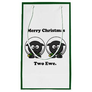 Merry Christmas Two Ewe To You Cartoon Small Gift Bag