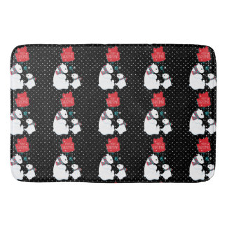 Merry Christmas Two Polar Bears Bath Mat